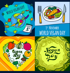 vegan day banner set hand drawn style vector image