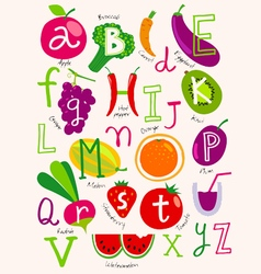 vegetarian alphabet vector image