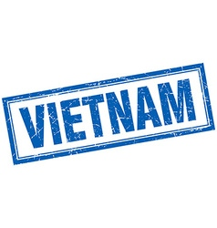 Vietnam blue square grunge stamp on white vector