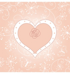 vintage floral heart with rose vector image