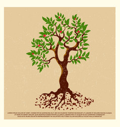Vintage grunge poster with blossom fruit tree vector