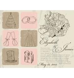 Vintage wedding poster vector image