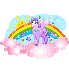 Violet Pegasus in the sky with rainbow vector image