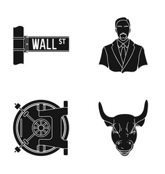 wall street a businessman a bank vault a gold vector image