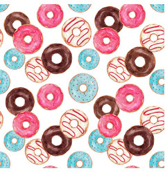 watercolor tasty donuts pattern vector image