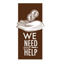 We need your help charity and donation poster vector