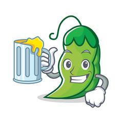 With juice peas mascot cartoon style vector