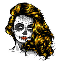 Woman with sugar skull face paint vector