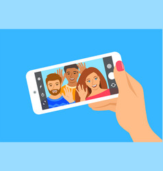 young people take selfie with a smartphone vector image