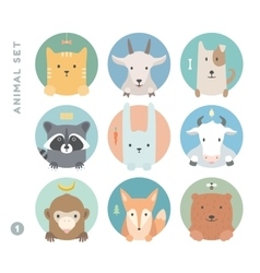 Animal set of colorful portrait in flat graphics vector image