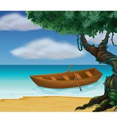 Beachside Wooden Boat vector image vector image