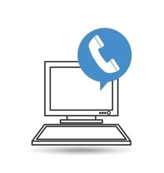computer desktop telephone communication social vector image