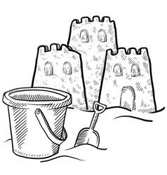 Doodle sand castles bucket vector