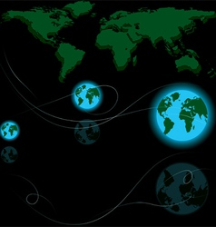 abstract world map and earth globes vector image