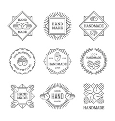 Black outline handmade labels set vector image vector image