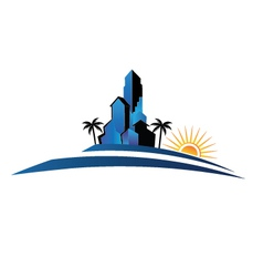 Buildings with palm and sun vector image vector image