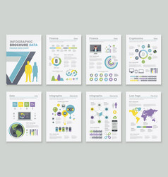 group of financial and infographic sheets vector image vector image