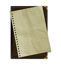 leather notepad with a sheet of paper vector image