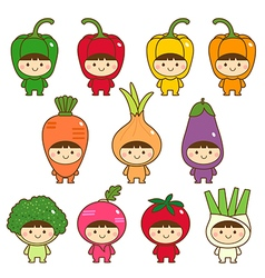 Set of kids in cute vegetables costumes vector image vector image
