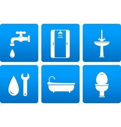 set of plumbing icons vector image vector image