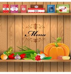 Vegetables Wooden Shelves vector image vector image