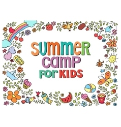 Doodle summer with text vector