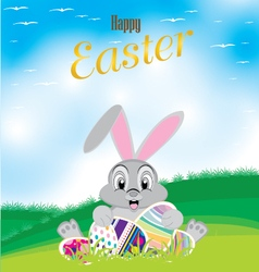 Easter bunny with colorfol egg Easter eggs on the vector image