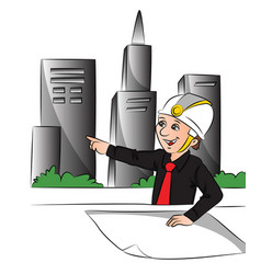 engineer pointing at site vector image vector image