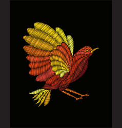 fantasy bird embroidery vector image