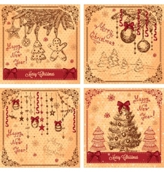 hand drawn new greeting cards vector image vector image