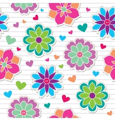 seamless pattern of flower stickers vector image