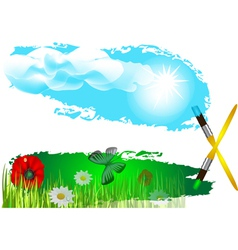 flowers on the field vector image