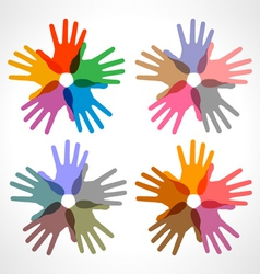 set of colorful hand print icons vector image
