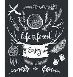 Set of hand drawn tribal elements and dividers vector image
