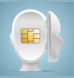 Sim card in an open mind vector