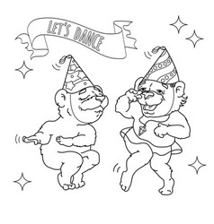 two funny bears are dancing black line on whit vector image vector image