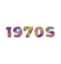 1970s concept retro colorful word art vector