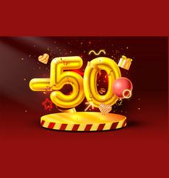 50 off discount creative composition 3d golden vector