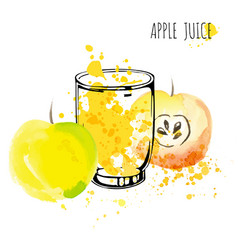Apple juice splash watercolor vector