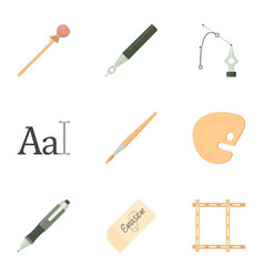 Art tools icons set cartoon style vector