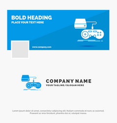 Blue business logo template for console game vector