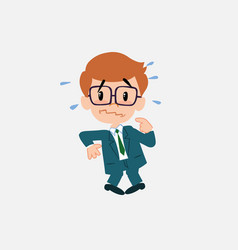 businessman with glasses scared vector image