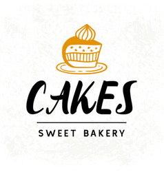 cakes logotype template sweet bakery badge label vector image