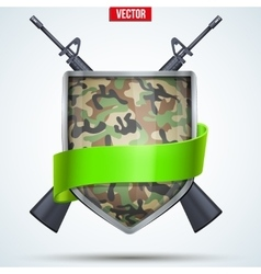 Camouflage Shield with ribbon and rifles vector