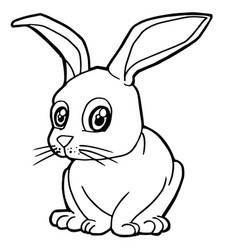 Cartoon cute rabbit coloring page vector