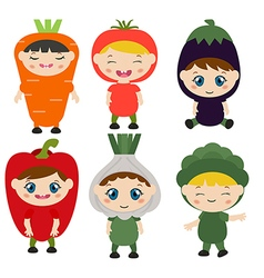 Children dressed like vegetables vector image