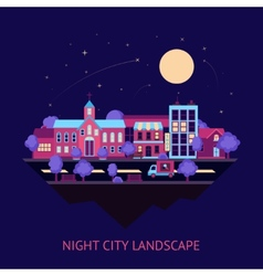City scape night background vector image