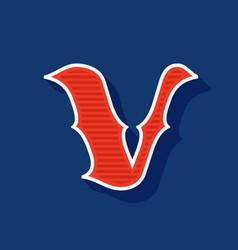 Classic style v letter sport logo vector