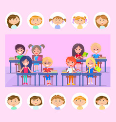 classmate and classroom pupils with books vector image