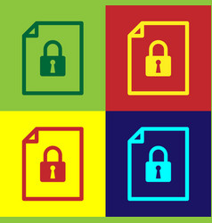 Color document and lock icon isolated on color vector